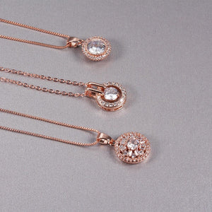 Rose Gold Crystal Necklaces - Momo Babe
