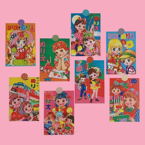 Japanese Retro Dolls Postcards and Stickers - Momo Babe