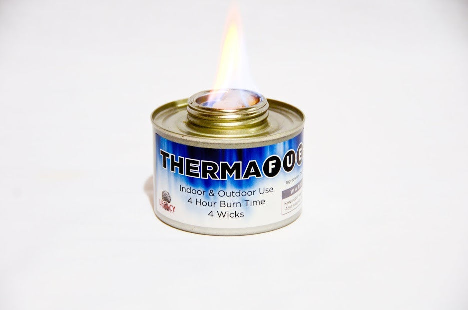 ThermaFuel is a sterno style alcohol stove that produces real flame from a gel fuel cell
