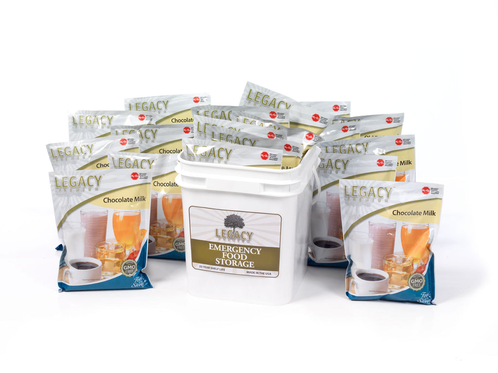 160 Serving Powdered Chocolate Milk Food Storage by Legacy Premium