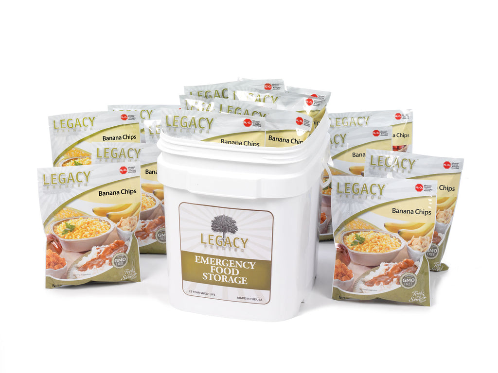 30 Servings Banana Chip Six Pack with Bucket by Legacy Premium Freeze Dried Survival Food Storage