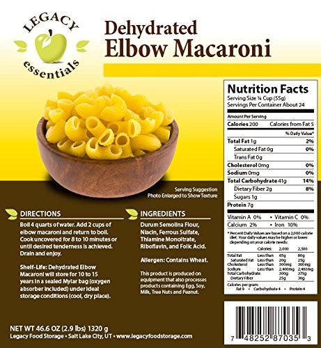 24 Servings of Dehydrated Elbow Macaroni