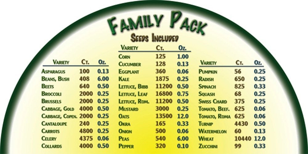 Heirloom Organics Family Seed Pack