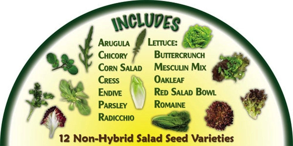 Heirloom Organics non-gmo long term storage salad seed pack contents