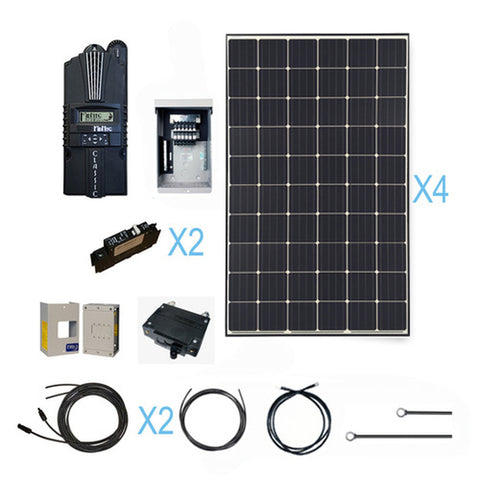 Basic Home Backup Power - 1200 Watt 12 Volt Monocrystalline Solar Kit