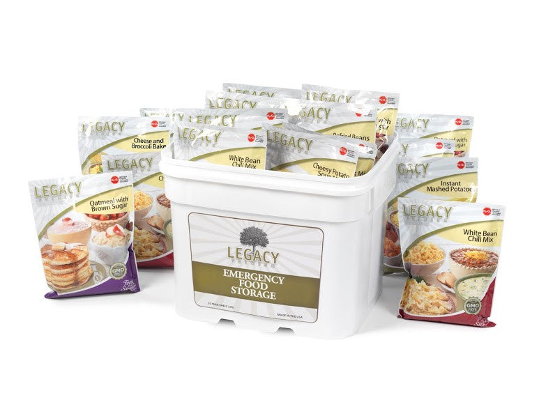 Legacy Food Storage 120 Serving Breakfast Lunch and Dinner Freeze Dried Survival Bucket