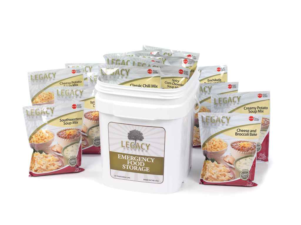 Legacy Food Storage 60 Serving Gluten Free Bucket of Freeze Dried Survival Food