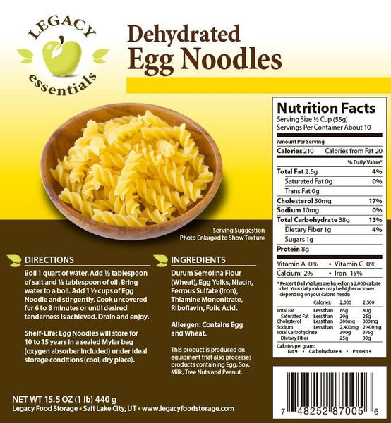 10 Servings of Dehyrdated Egg Noodles