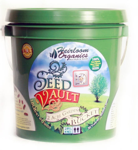 heirloom organics seed vault bucket; non-gmo, non-hybrid seeds for organic gardening