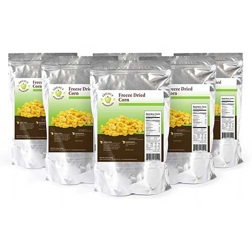 Six Pack of Legacy Food Storage Freeze Dried Survival Corn Pouch