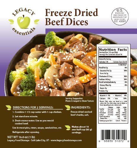 Legacy Food Storage Freeze Dried Beef Dices