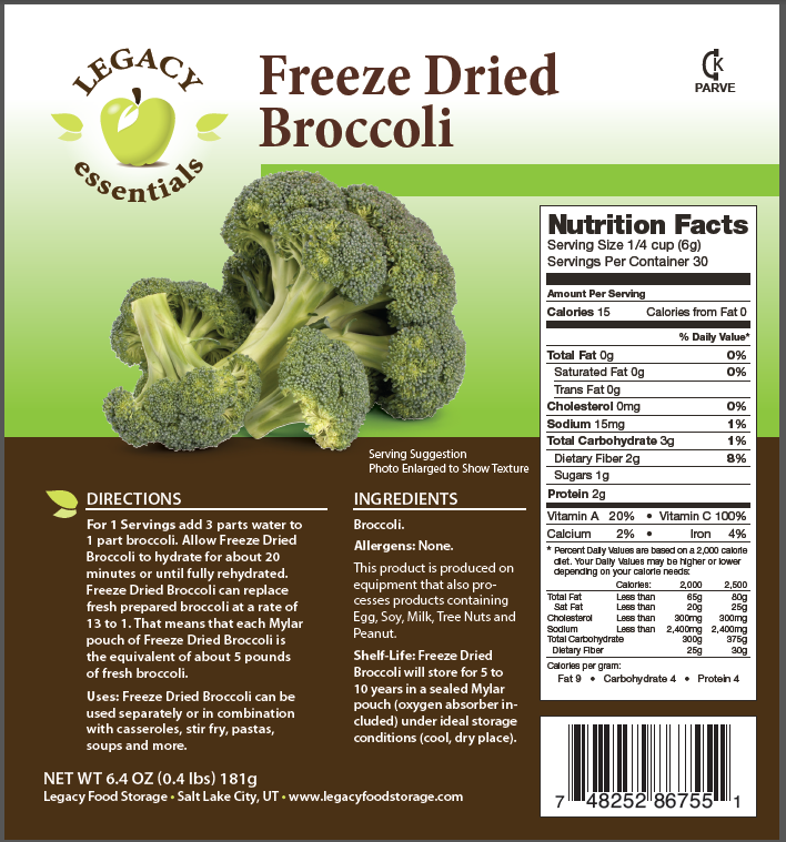 Legacy Premium freeze dried Broccoli Florets emergency survival food storage