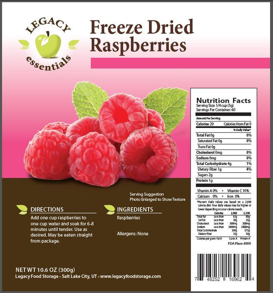 Freeze Dried Raspberries Legacy Premium Nutrition Facts