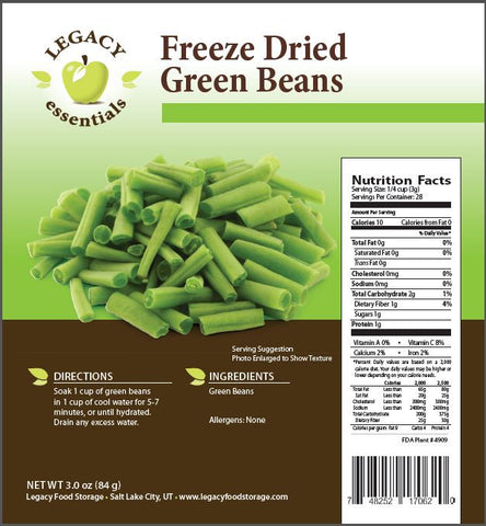 Legacy Premium freeze Dried green beans for survival food storage