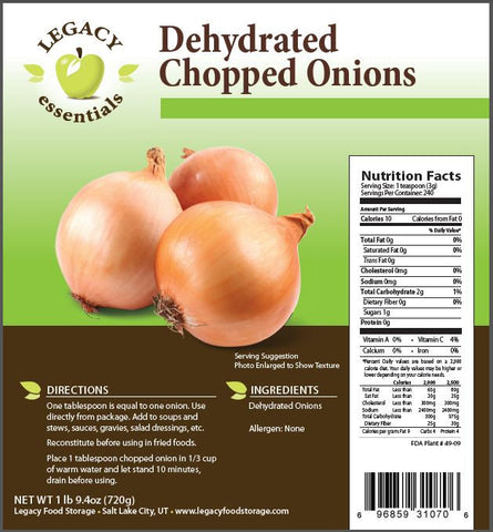Legacy Food Storage Dehydrated Chopped Onions