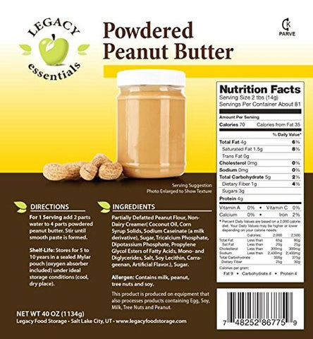Legacy Premium freeze dried powdered peanut butter emergency survival food storage