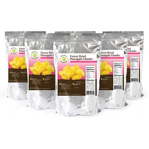 44 Servings Pineapple Pouch Six Pack Legacy Premium Freeze Dried Survival Food Storage