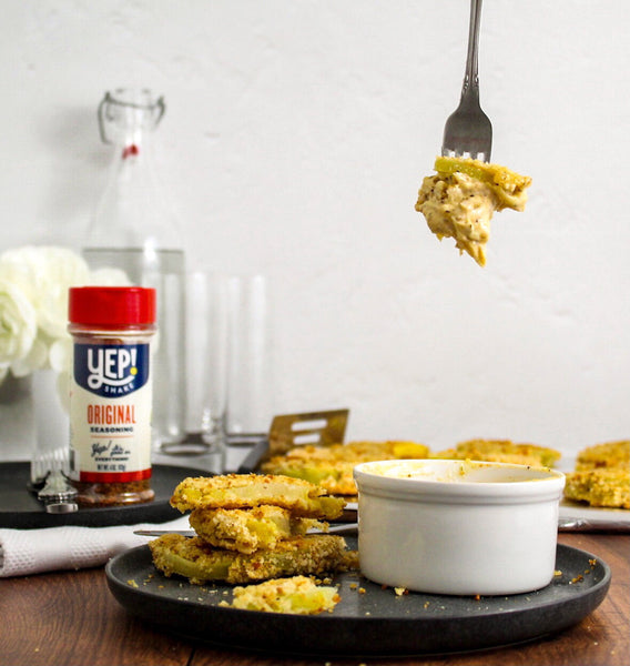 """Oven """"Fried"""" Green Tomatoes with a Creamy Remoulade"""