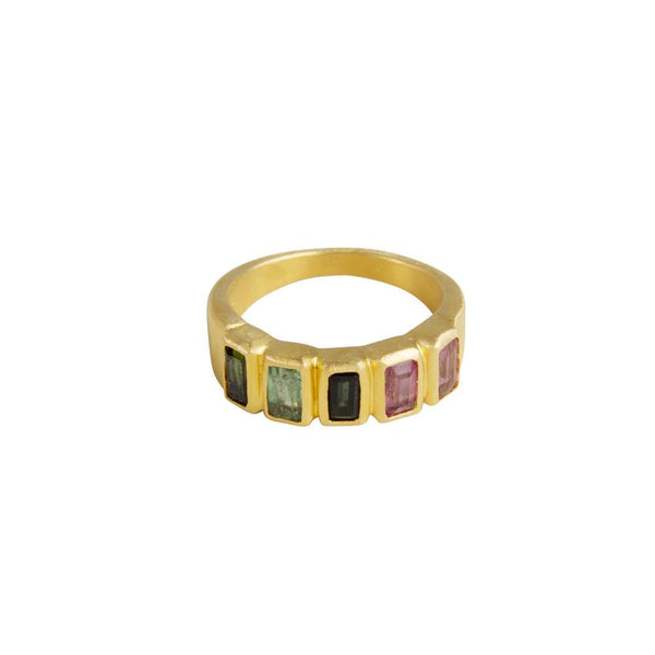 Tourmaline Baguette Ring Gold