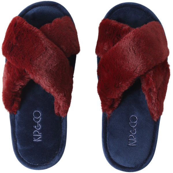 Midnight blue and merlot adults slippers