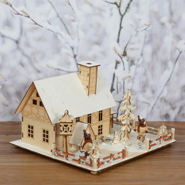 LED Wooden Village Snowy House