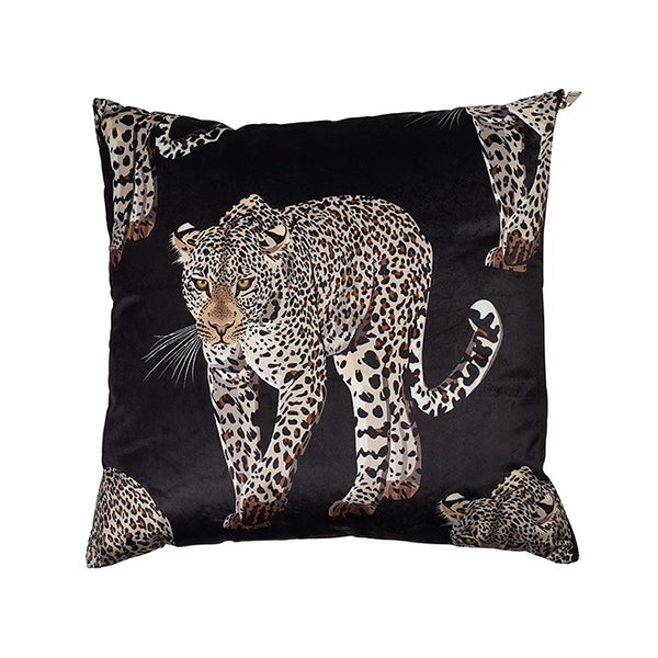Miles Black Velvet Leopard Cushion