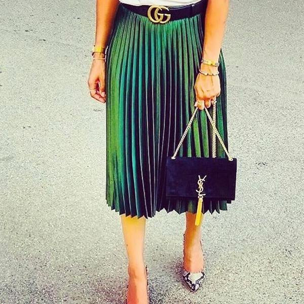 Gucci Green Pleated Skirt