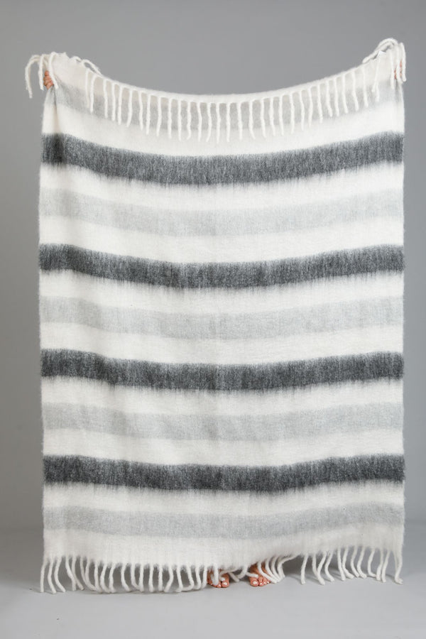 Fireside Throw Grey Stripe