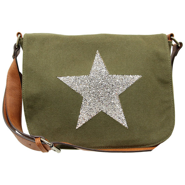 Star Canvas Cross Body Bag - Khaki