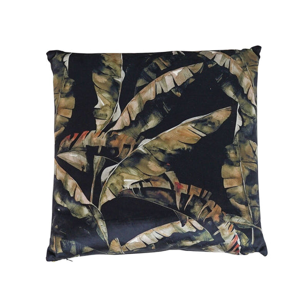 Verve Velvet Black Banana Leaf Cushion