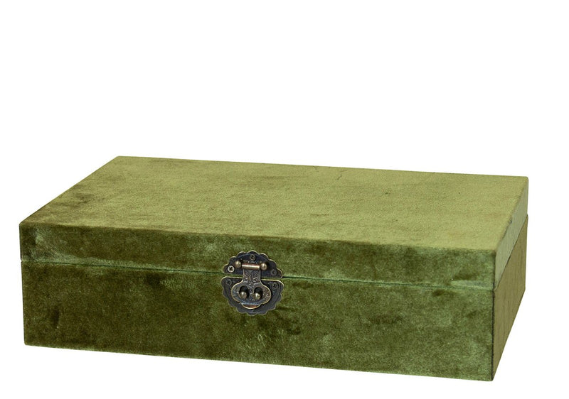 Victoria Velvet Jewel Box Olive Large