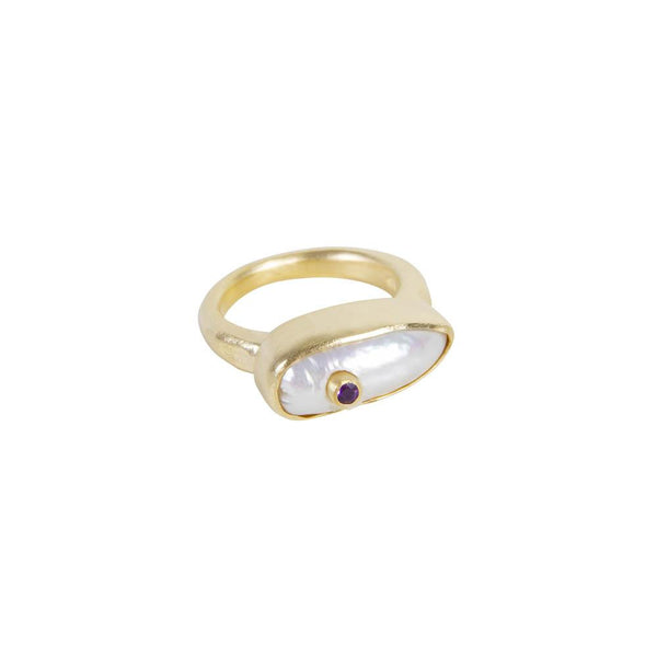 Pearl Puff Amethyst Ring Gold