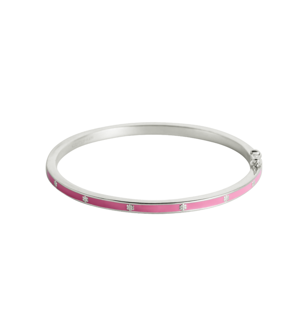 Pink Flower Enamel Bangle (SS) Small