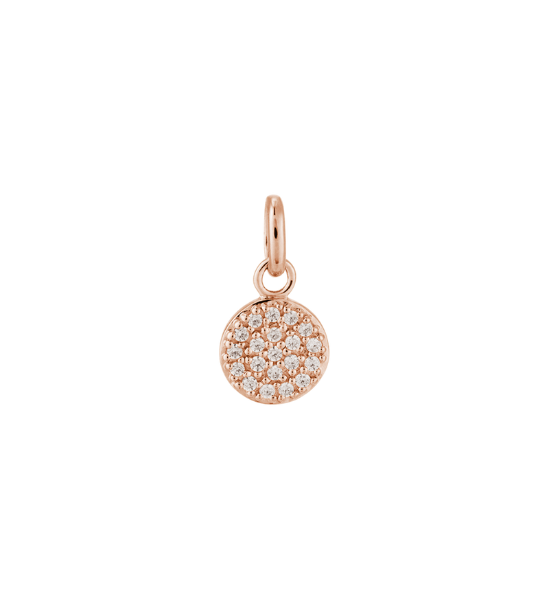 Tiny Circle Crystal Charm (18k-rose gold-vermeil)