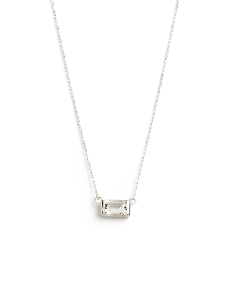Baguette Necklace White Topaz (sterling silver)
