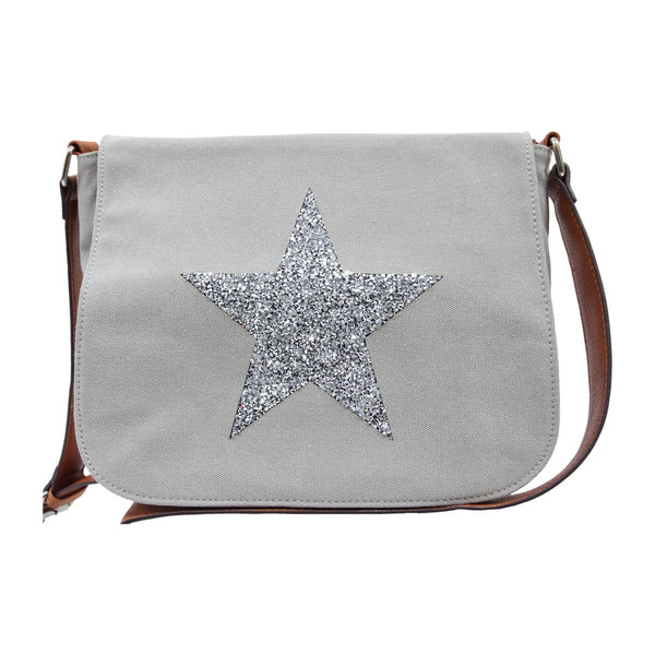 Star Canvas Cross Body Bag - Grey