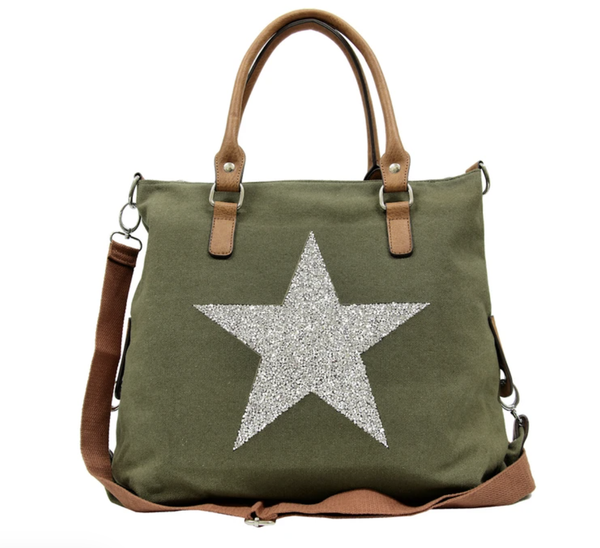 Star Power Canvas Bag - Khaki