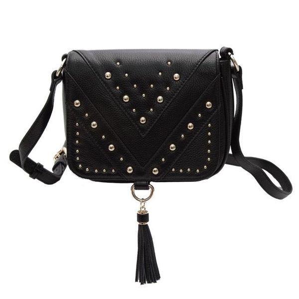 Luxe Leather Saddle Bag (Black)