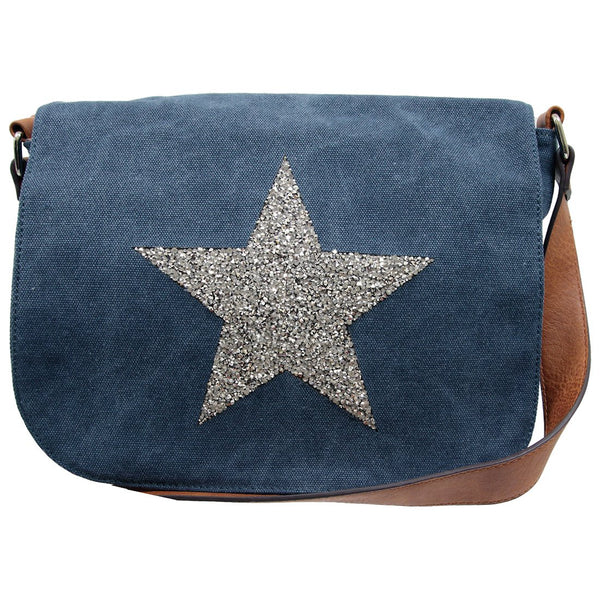 Star Canvas Cross Body Bag - Denim