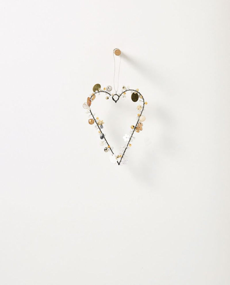 Christabel hanging beaded heart - small