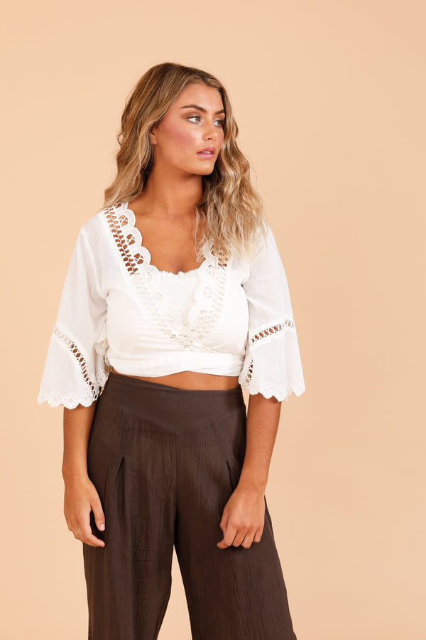 Shiraz Wrap Top - White