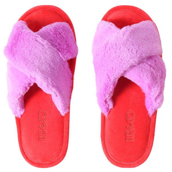 Raspberry red and pink adults slippers