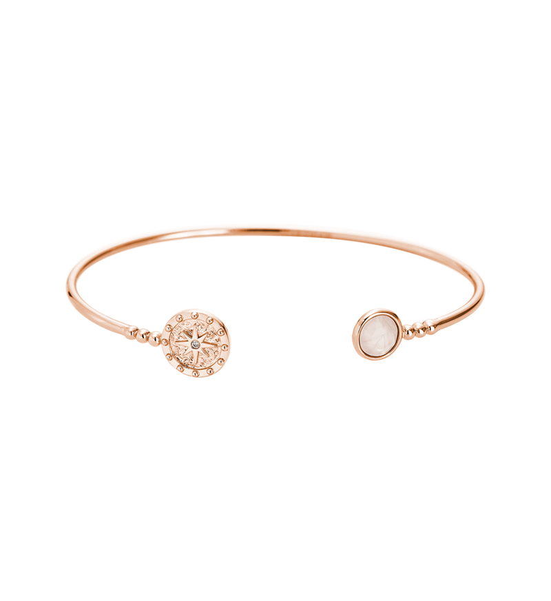 Lucky Coin Cuff Rose Quartz (18k-rose gold-plated)