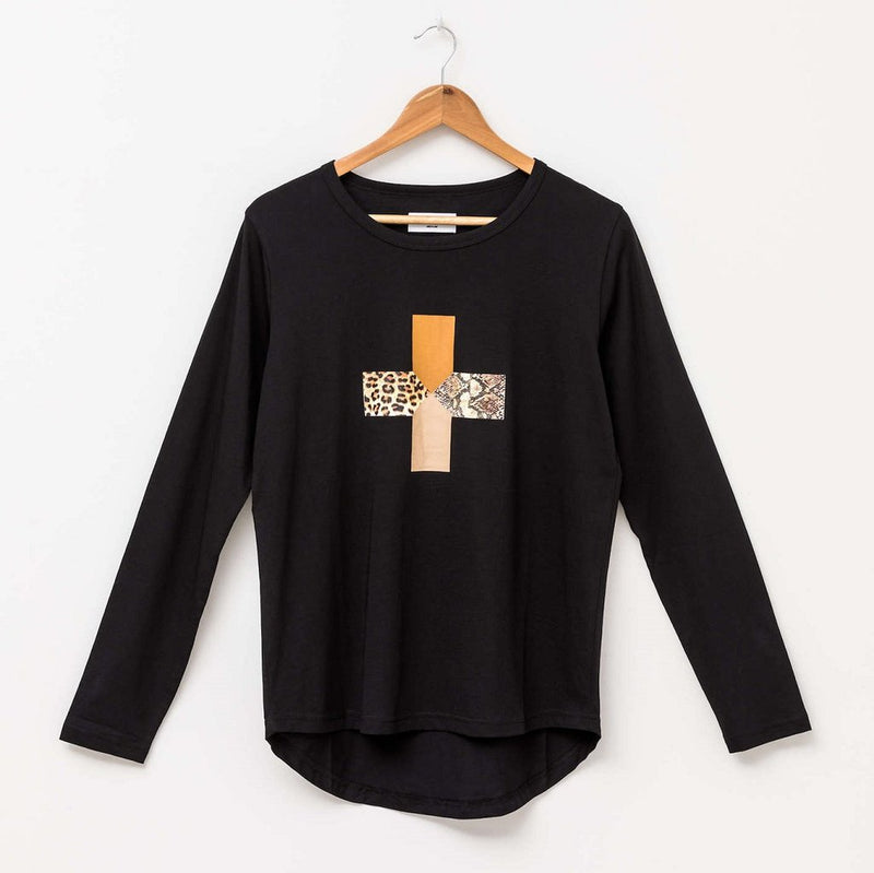 Stella & Gemma Safari Cross LS Tee - Black