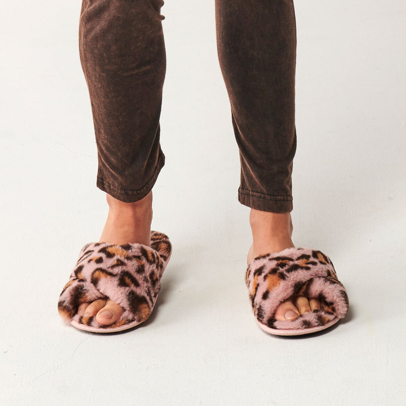 Pink Cheetah Womens Slippers