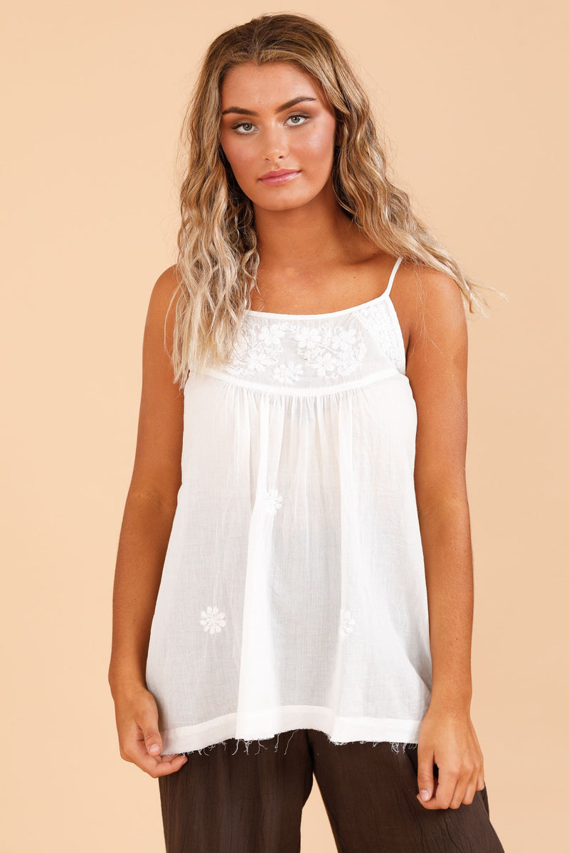 Stargazer Singlet Top - White
