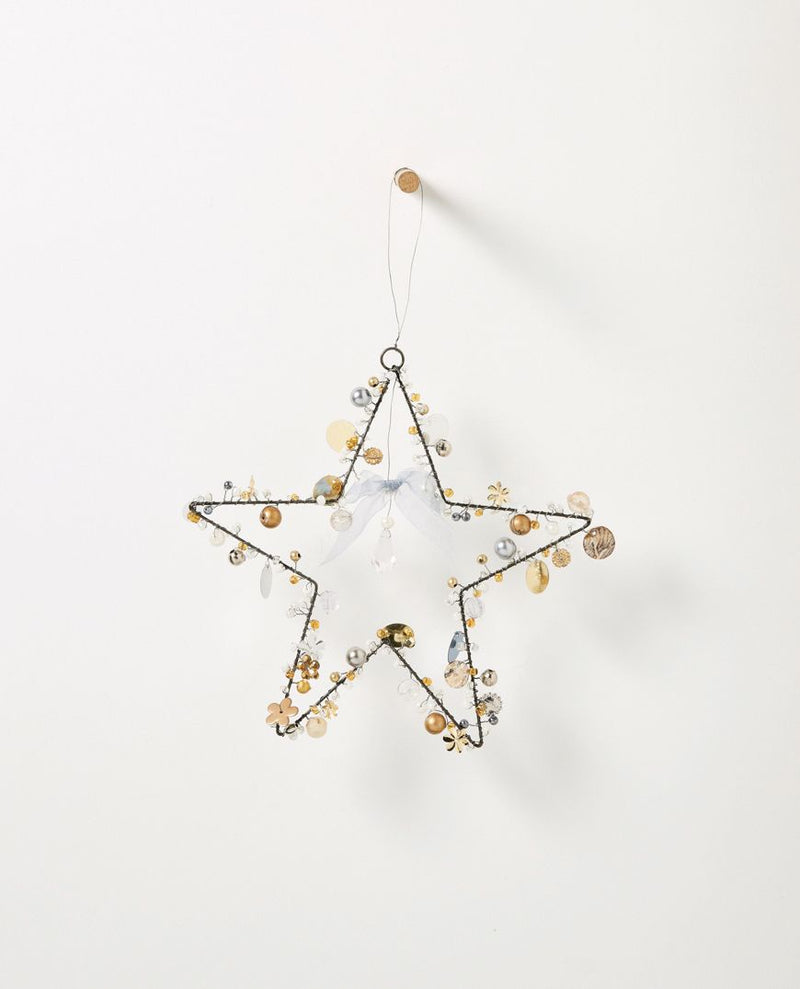 Christabel hanging beaded star - large