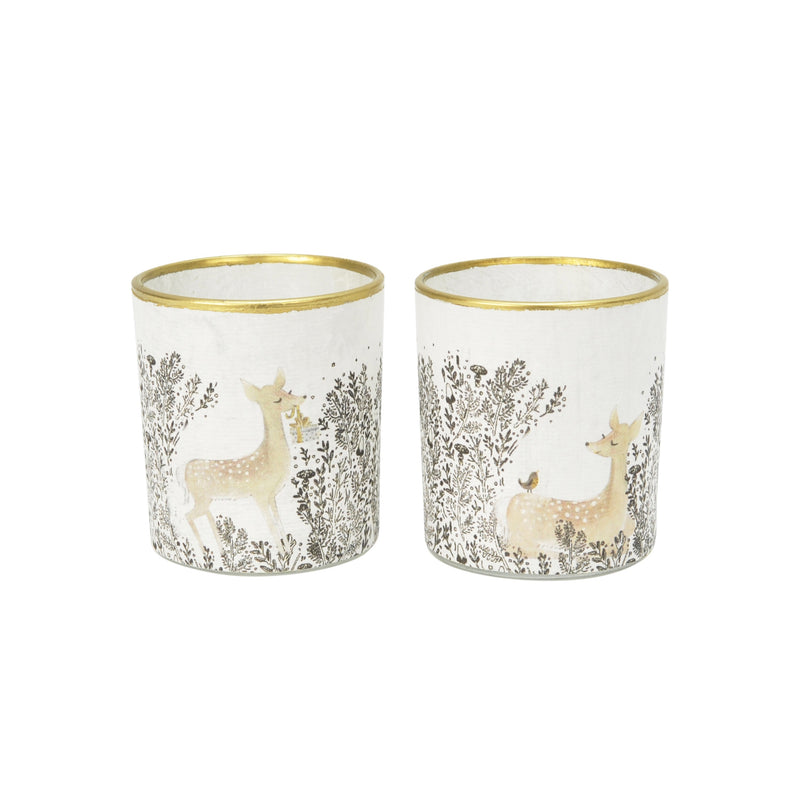 Glass Natural Deer Votive 2Ass