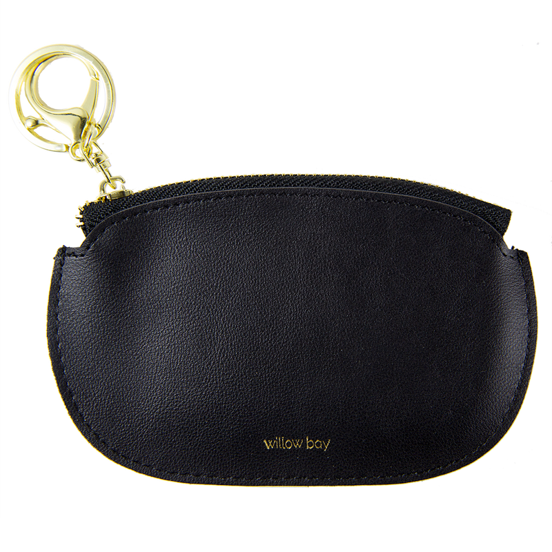 Faux Leather Coin Purse with Keychain - Black