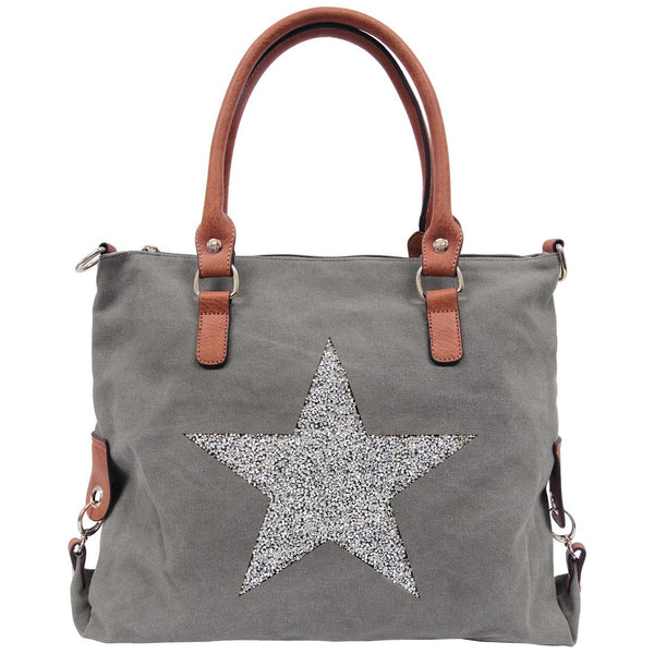 Star Power Canvas Bag - Grey